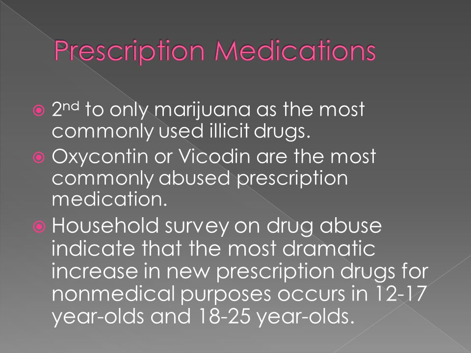  2 nd to only marijuana as the most commonly used illicit drugs.  Oxycontin or Vicodin are the most commonly abused prescription medication.  House