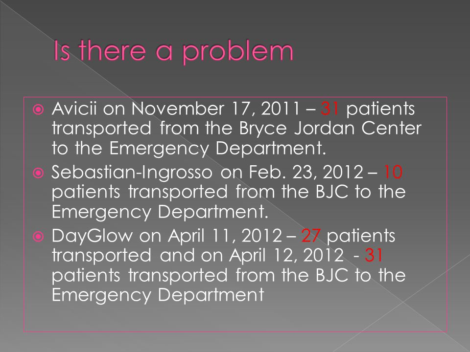  Avicii on November 17, 2011 – 31 patients transported from the Bryce Jordan Center to the Emergency Department.  Sebastian-Ingrosso on Feb. 23, 201