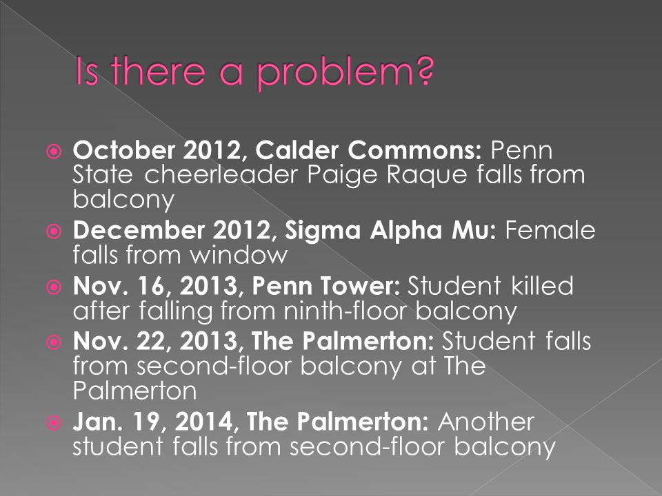  October 2012, Calder Commons: Penn State cheerleader Paige Raque falls from balcony  December 2012, Sigma Alpha Mu: Female falls from window  Nov.