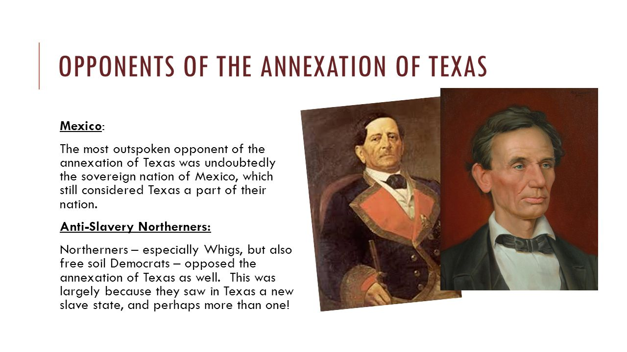 THE ISSUE OF SLAVERY DIVIDED THE PARTY Both Martin Van Buren and Henry Clay refused to state with any clarity that they would annex Texas while they were running for President in 1844.