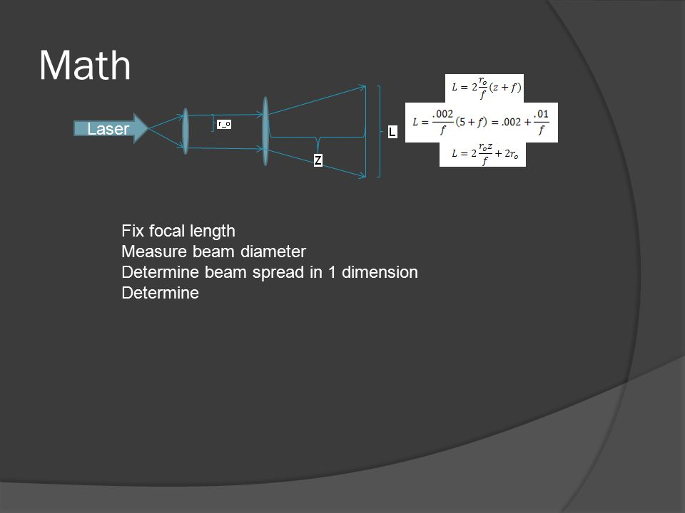 Math Laser Fix focal length Measure beam diameter Determine beam spread in 1 dimension Determine