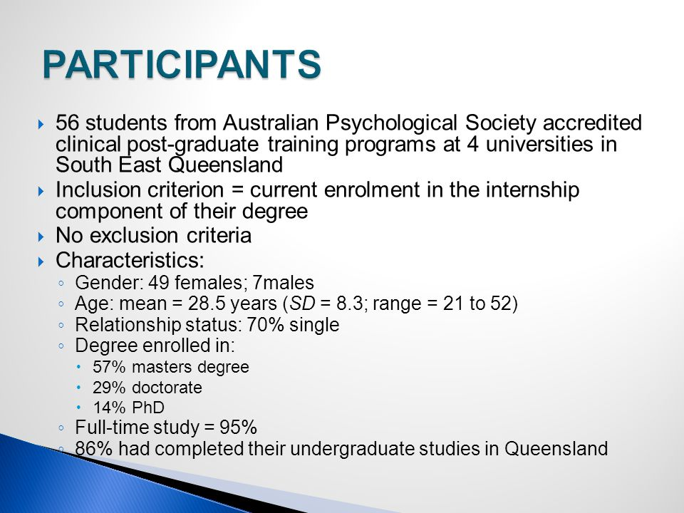  56 students from Australian Psychological Society accredited clinical post-graduate training programs at 4 universities in South East Queensland  Inclusion criterion = current enrolment in the internship component of their degree  No exclusion criteria  Characteristics: ◦ Gender: 49 females; 7males ◦ Age: mean = 28.5 years (SD = 8.3; range = 21 to 52) ◦ Relationship status: 70% single ◦ Degree enrolled in:  57% masters degree  29% doctorate  14% PhD ◦ Full-time study = 95% ◦ 86% had completed their undergraduate studies in Queensland