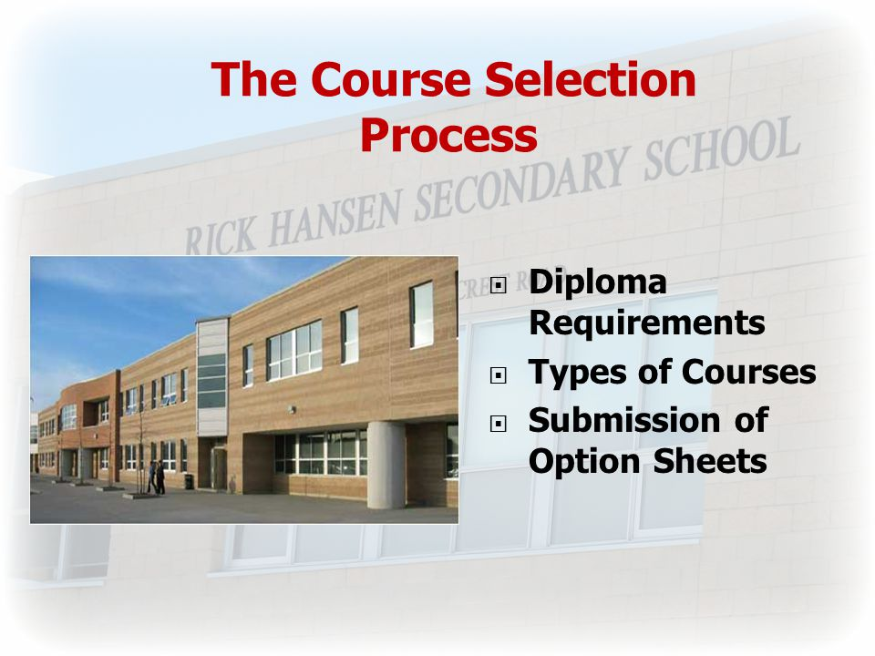 The Course Selection Process  Diploma Requirements  Types of Courses  Submission of Option Sheets