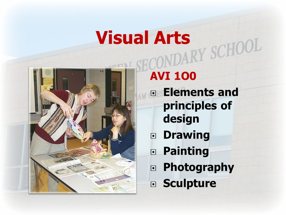 Visual Arts AVI 1O0  Elements and principles of design  Drawing  Painting  Photography  Sculpture