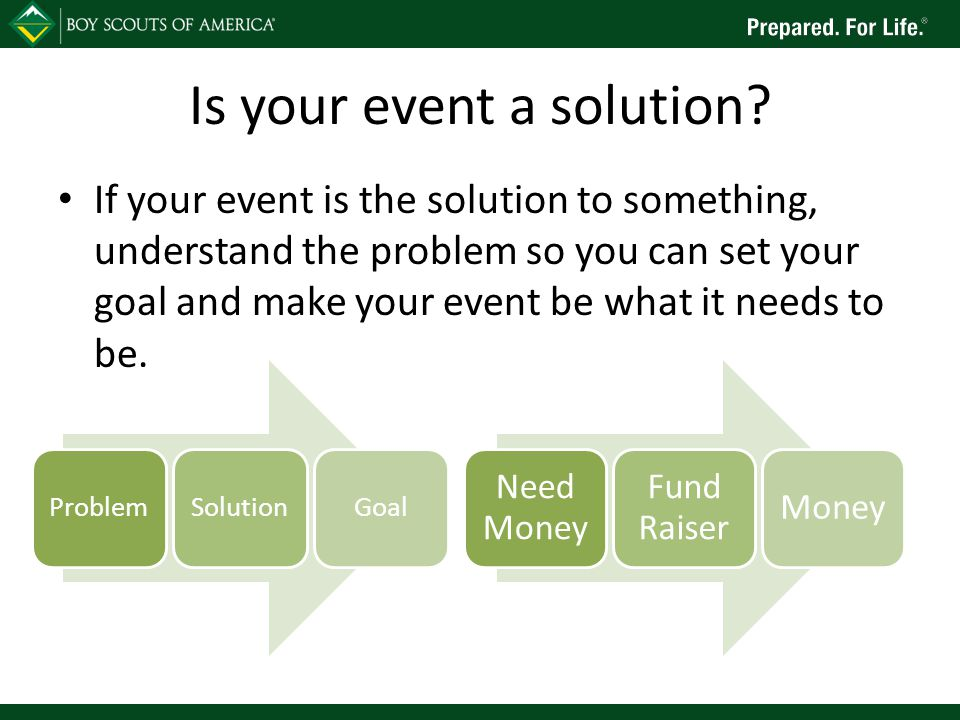 Is your event a solution? If your event is the solution to something, understand the problem so you can set your goal and make your event be what it n