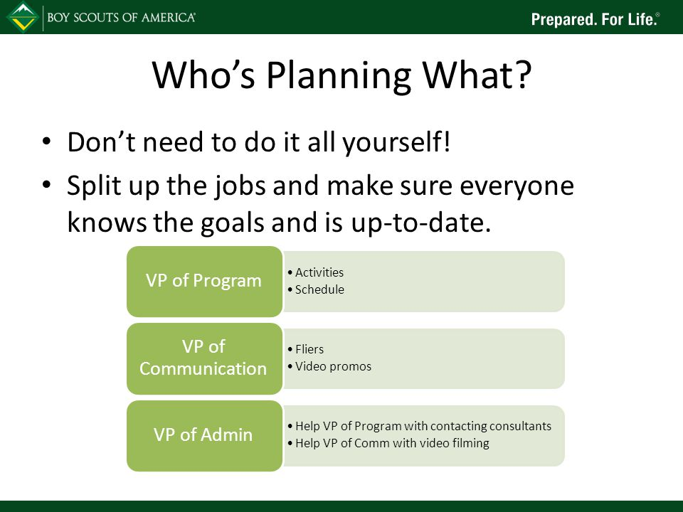 Who's Planning What. Don't need to do it all yourself.