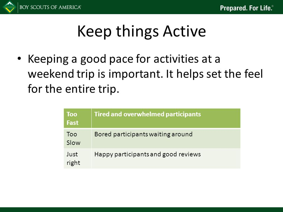 Keep things Active Keeping a good pace for activities at a weekend trip is important.