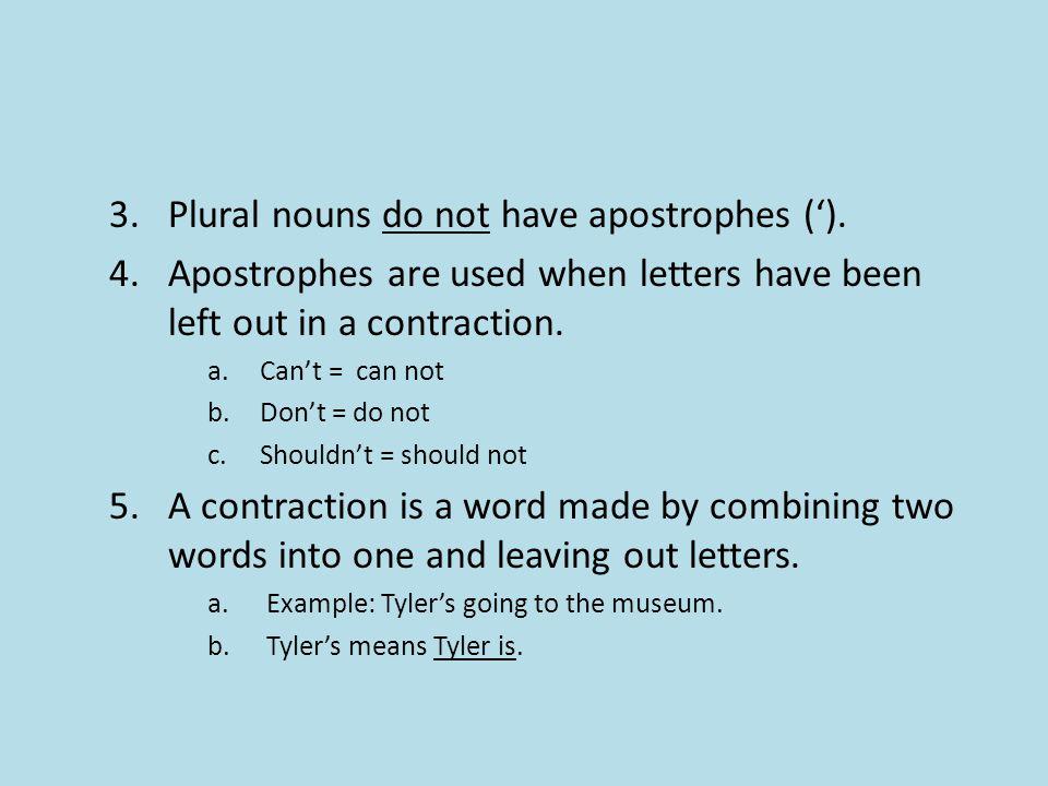 3.Plural nouns do not have apostrophes (').
