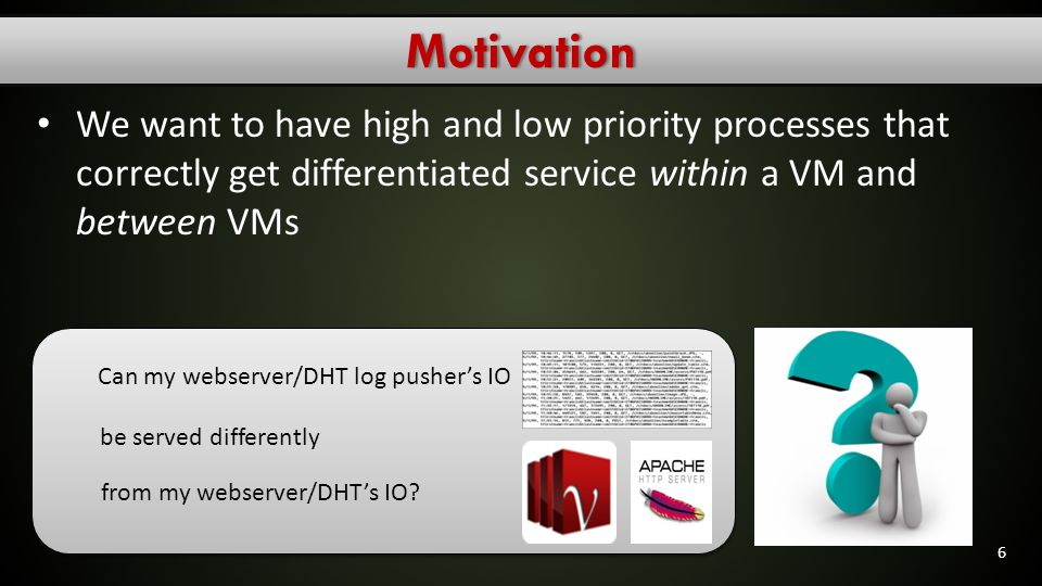 Existing work & ProblemsExisting work & Problems Vmware's ESX server offers Storage I/O Control (SIOC) Provides I/O prioritization of virtual machines that access a shared storage pool 7 But it supports prioritization only at host granularity!