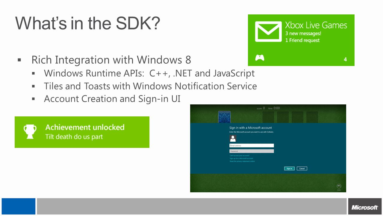 What's in the SDK?  Rich Integration with Windows 8  Windows Runtime APIs: C++,.NET and JavaScript  Tiles and Toasts with Windows Notification Serv