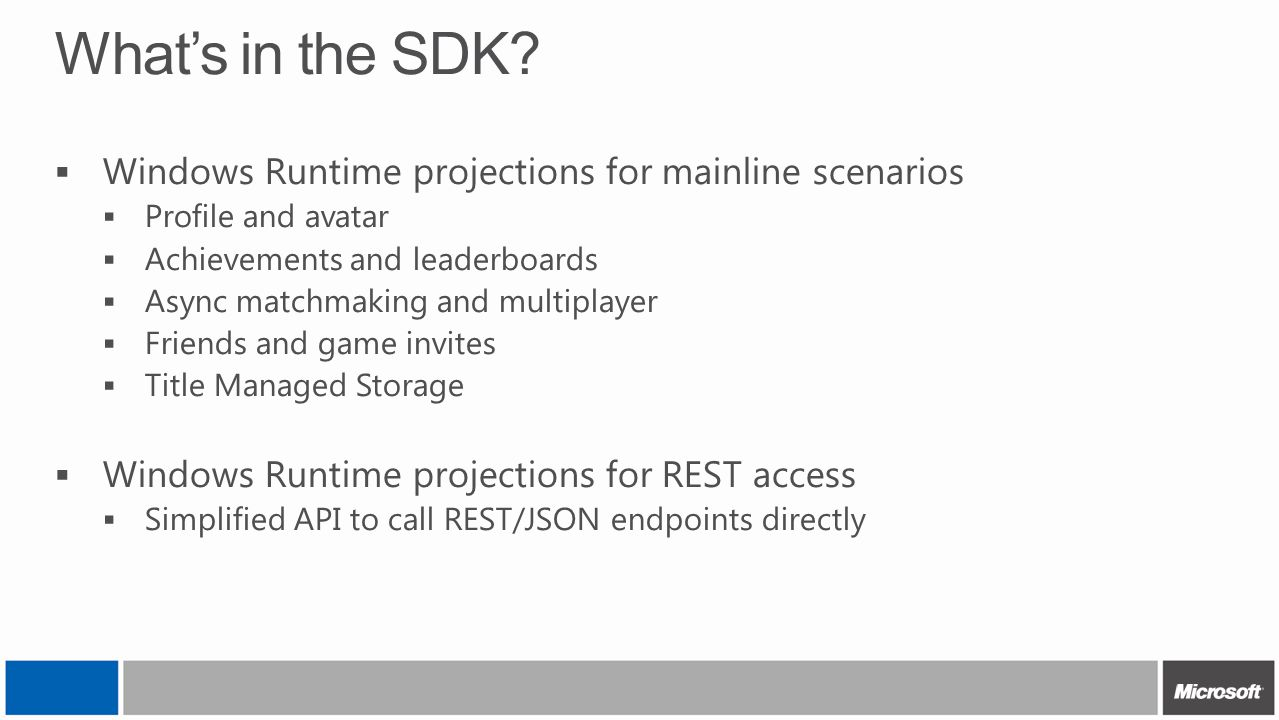 What's in the SDK?  Windows Runtime projections for mainline scenarios  Profile and avatar  Achievements and leaderboards  Async matchmaking and m