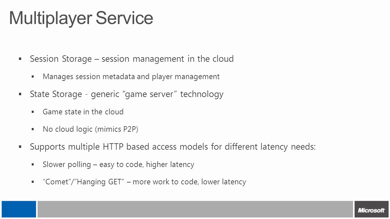 """Multiplayer Service  Session Storage – session management in the cloud  Manages session metadata and player management  State Storage - generic """"ga"""