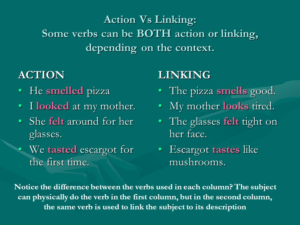 Action Vs Linking: Some verbs can be BOTH action or linking, depending on the context.
