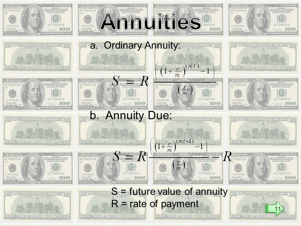 a. Ordinary Annuity: b. Annuity Due: S = future value of annuity R = rate of payment 11