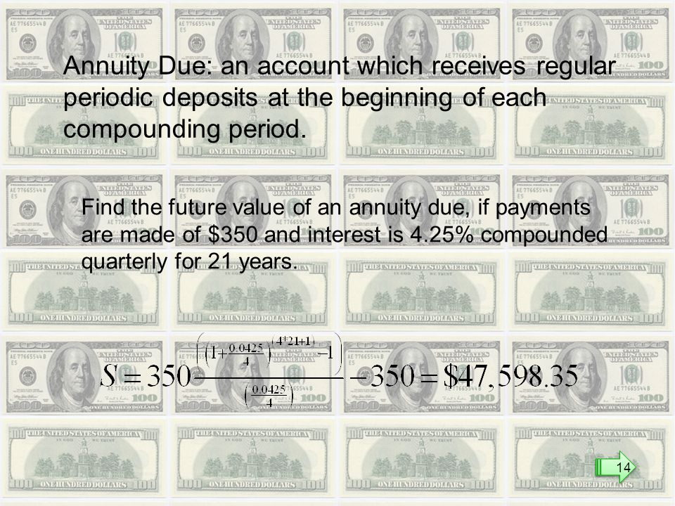 Annuity Due: an account which receives regular periodic deposits at the beginning of each compounding period.