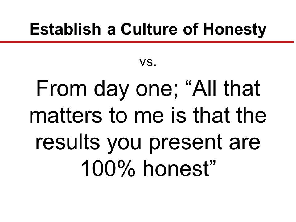 Establish a Culture of Honesty vs.