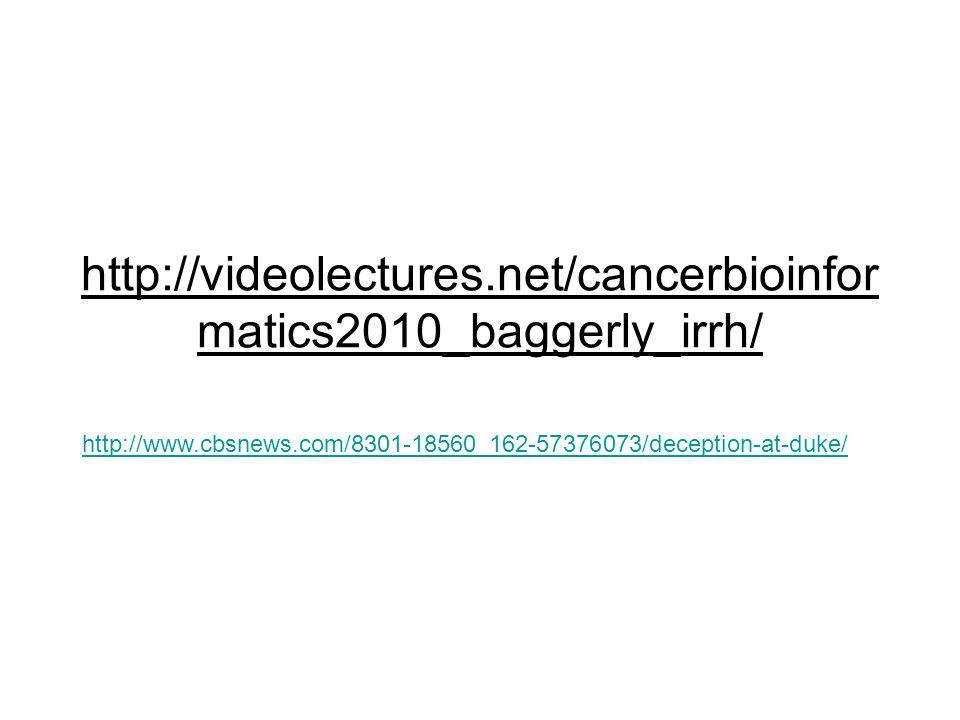 http://videolectures.net/cancerbioinfor matics2010_baggerly_irrh/ http://www.cbsnews.com/8301-18560_162-57376073/deception-at-duke/