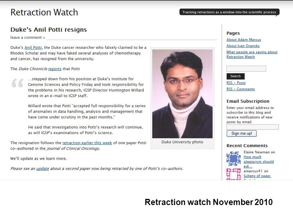 Retraction watch November 2010