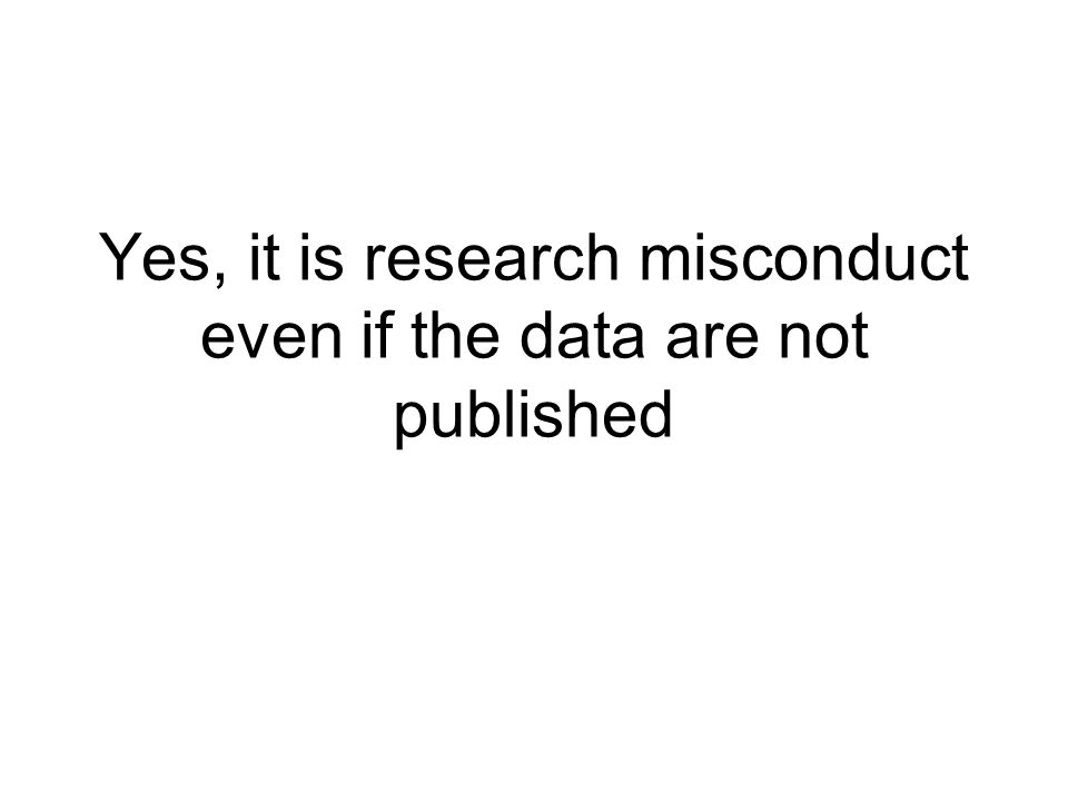 Yes, it is research misconduct even if the data are not published