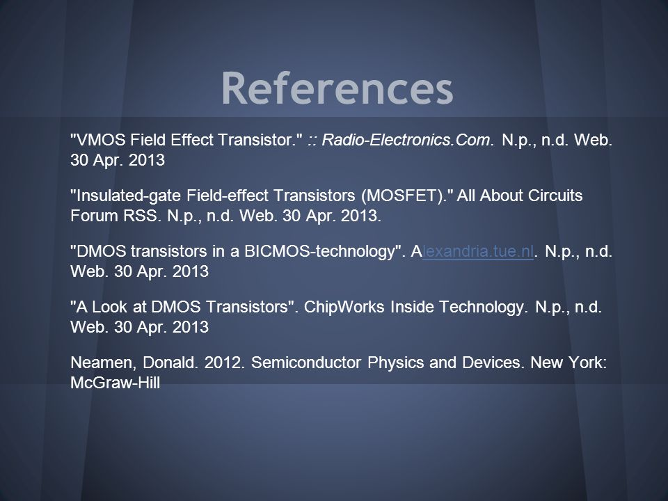 References VMOS Field Effect Transistor. :: Radio-Electronics.Com.