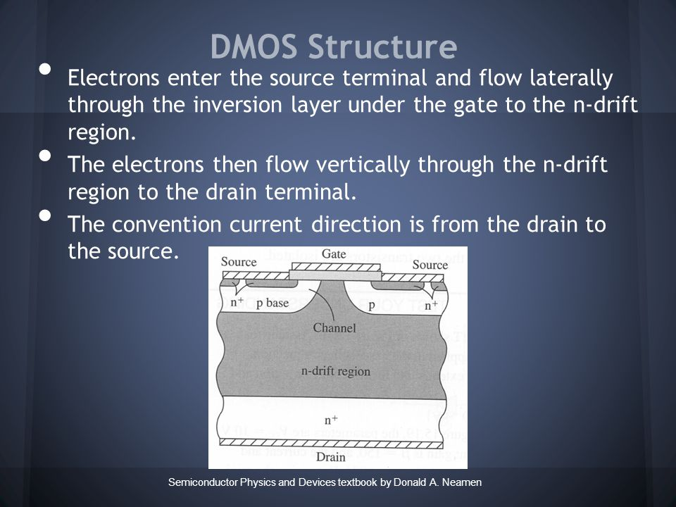 DMOS Structure Semiconductor Physics and Devices textbook by Donald A.