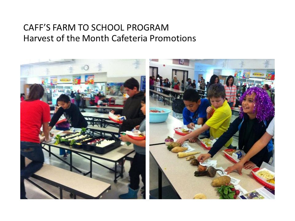CAFF'S FARM TO SCHOOL PROGRAM Harvest of the Month Cafeteria Promotions