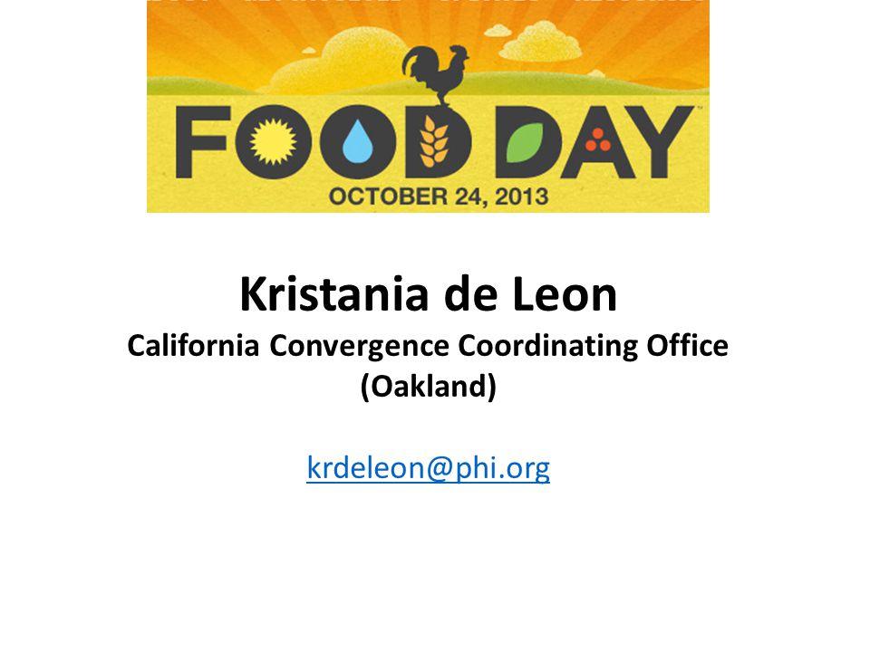 Kristania de Leon California Convergence Coordinating Office (Oakland) krdeleon@phi.org