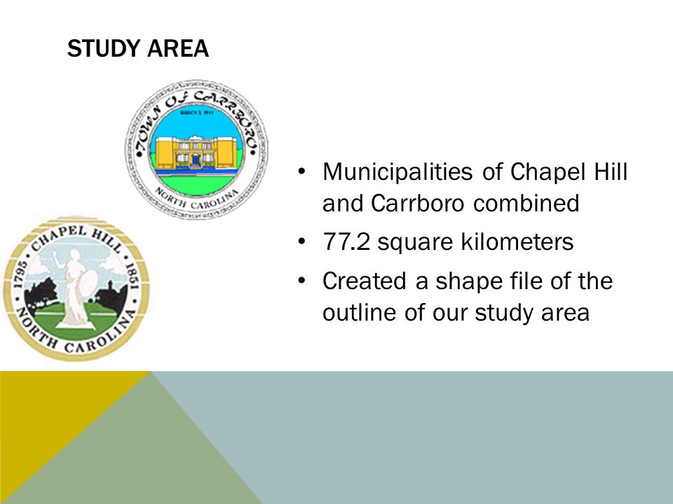 STUDY AREA Municipalities of Chapel Hill and Carrboro combined 77.2 square kilometers Created a shape file of the outline of our study area