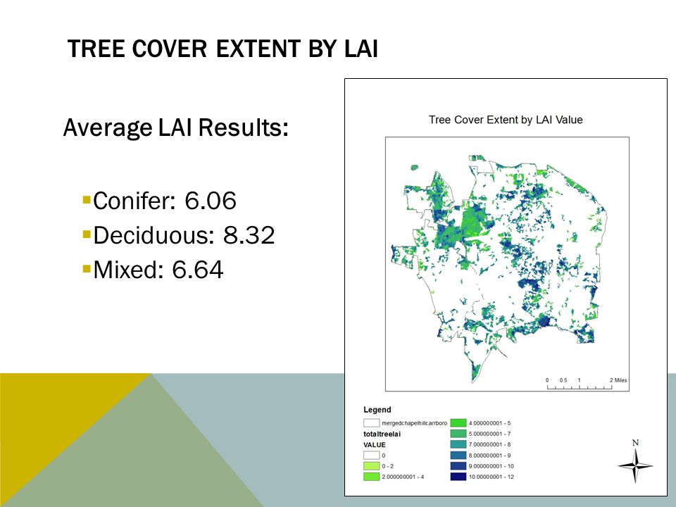 TREE COVER EXTENT BY LAI Average LAI Results:  Conifer: 6.06  Deciduous: 8.32  Mixed: 6.64