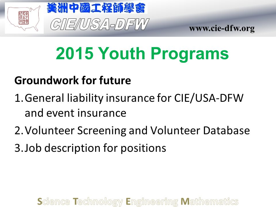 www.cie-dfw.org 2015 Youth Programs Groundwork for future 1.General liability insurance for CIE/USA-DFW and event insurance 2.Volunteer Screening and