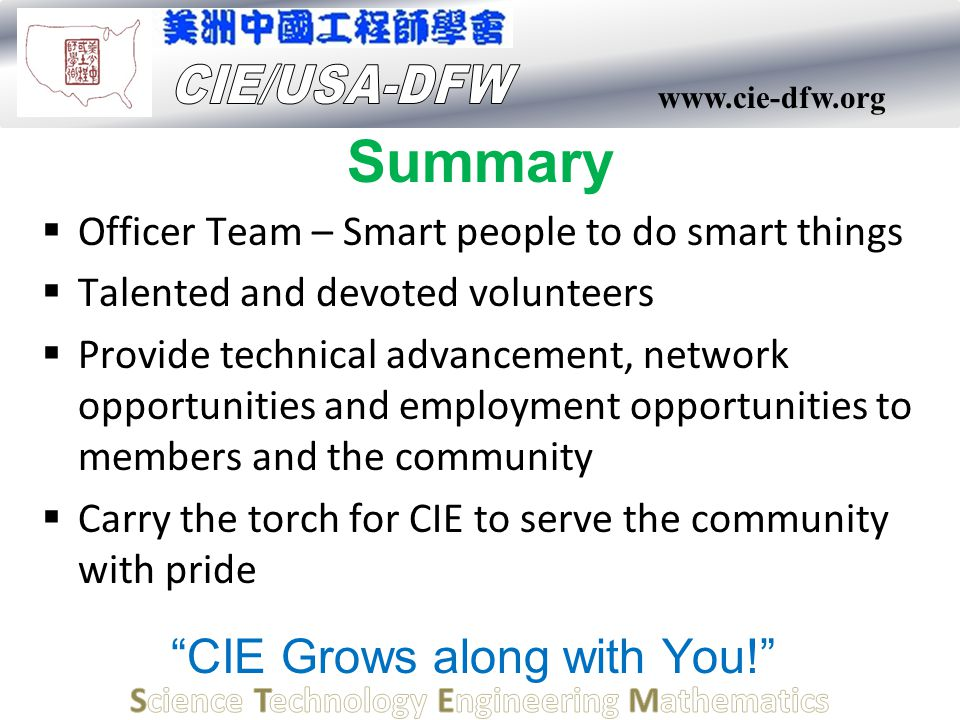 www.cie-dfw.org Summary  Officer Team – Smart people to do smart things  Talented and devoted volunteers  Provide technical advancement, network op