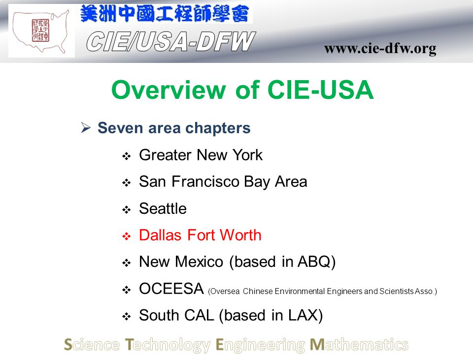 www.cie-dfw.org Overview of CIE-USA  Seven area chapters  Greater New York  San Francisco Bay Area  Seattle  Dallas Fort Worth  New Mexico (base