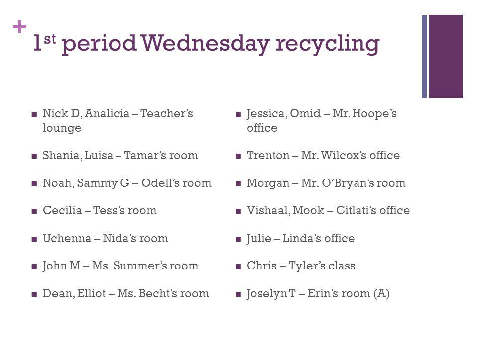 + 1 st period Wednesday recycling Nick D, Analicia – Teacher's lounge Shania, Luisa – Tamar's room Noah, Sammy G – Odell's room Cecilia – Tess's room Uchenna – Nida's room John M – Ms.