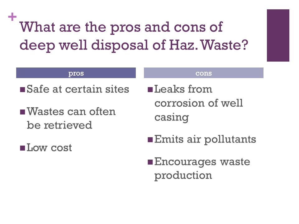 + What are the pros and cons of deep well disposal of Haz.