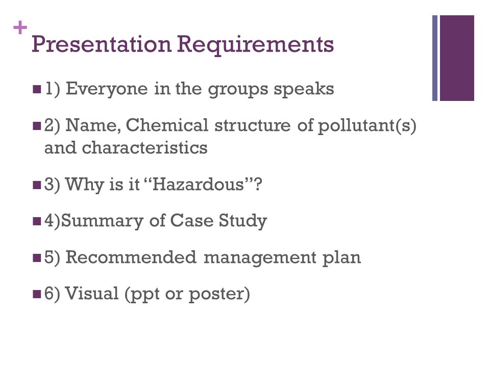 """+ Presentation Requirements 1) Everyone in the groups speaks 2) Name, Chemical structure of pollutant(s) and characteristics 3) Why is it """"Hazardous""""?"""
