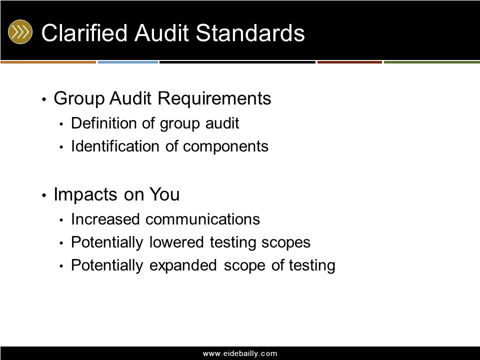 www.eidebailly.com Clarified Audit Standards Group Audit Requirements Definition of group audit Identification of components Impacts on You Increased