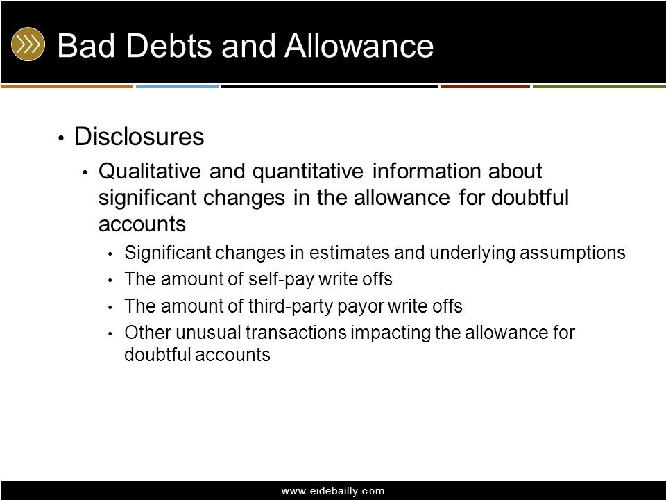 www.eidebailly.com Bad Debts and Allowance Disclosures Qualitative and quantitative information about significant changes in the allowance for doubtfu