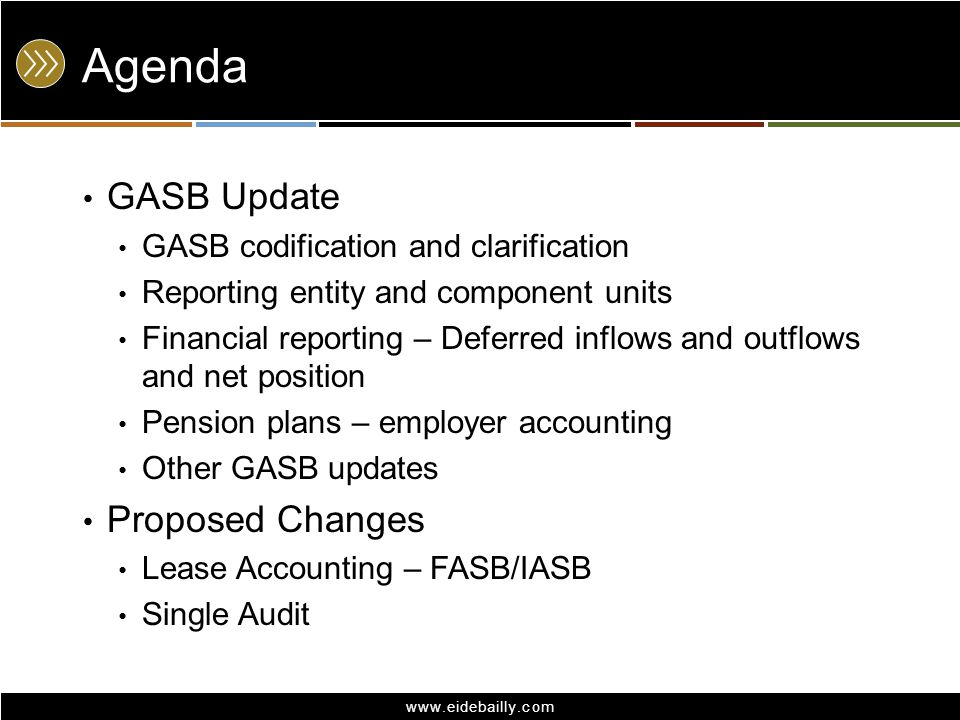 www.eidebailly.com Agenda GASB Update GASB codification and clarification Reporting entity and component units Financial reporting – Deferred inflows