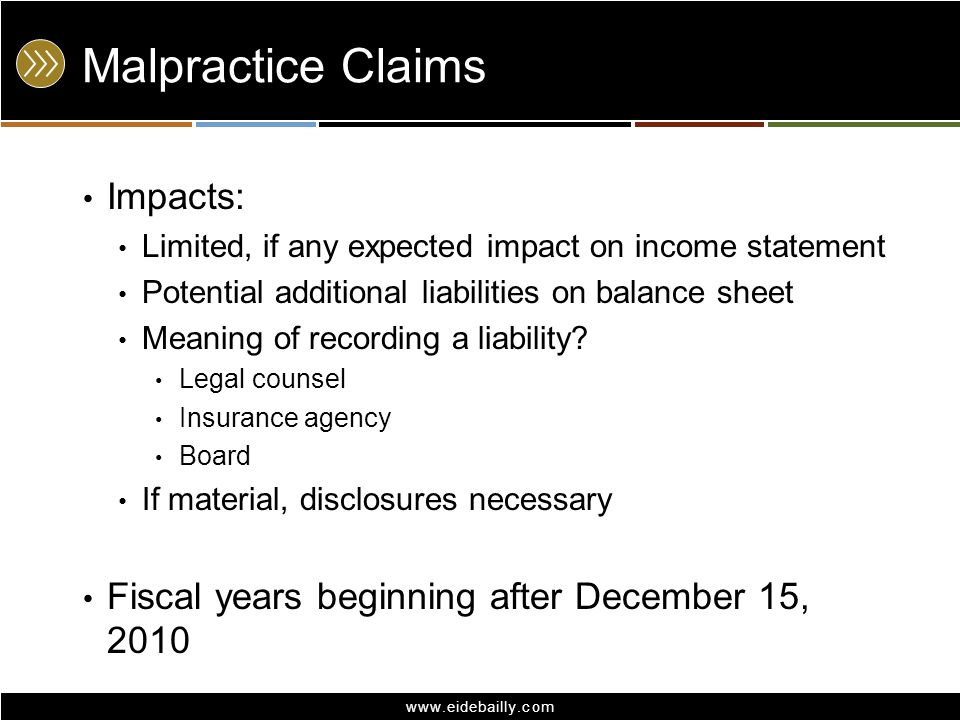 www.eidebailly.com Malpractice Claims Impacts: Limited, if any expected impact on income statement Potential additional liabilities on balance sheet M