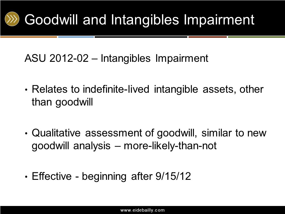 www.eidebailly.com Goodwill and Intangibles Impairment ASU 2012-02 – Intangibles Impairment Relates to indefinite-lived intangible assets, other than