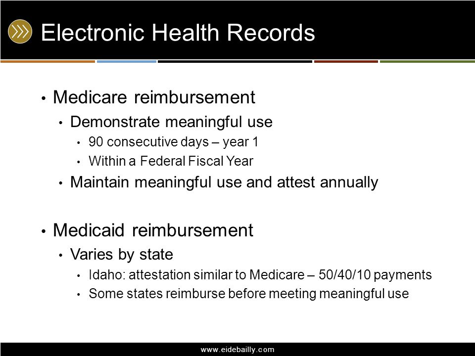 www.eidebailly.com Electronic Health Records AICPA/HFMA white paper Not approved by SEC, FASB, GASB, others Reasonable assurance Cliff or ratable method Recommended revenue location: In performance indicator Separate from patient revenue Generally, operating
