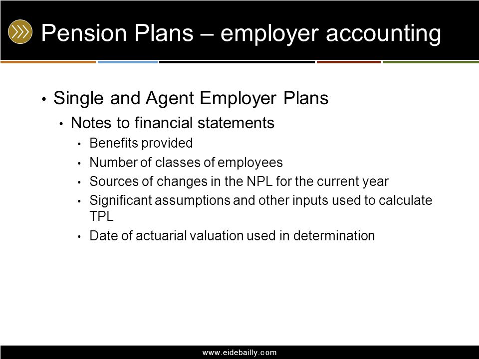 www.eidebailly.com Pension Plans – employer accounting Single and Agent Employer Plans Notes to financial statements Benefits provided Number of class