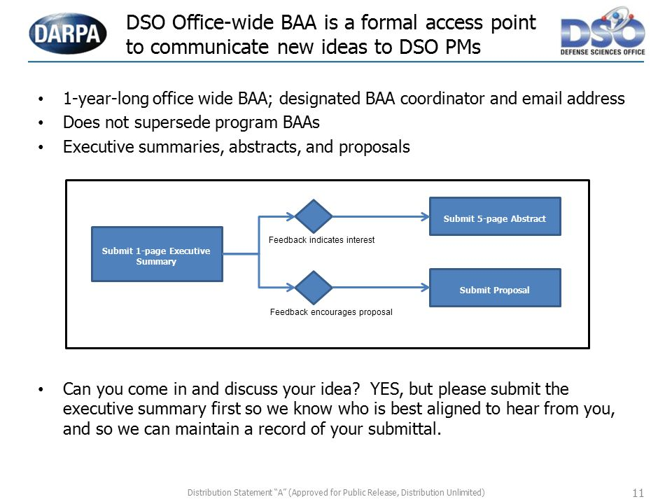 DSO Office-wide BAA is a formal access point to communicate new ideas to DSO PMs 11 1-year-long office wide BAA; designated BAA coordinator and email