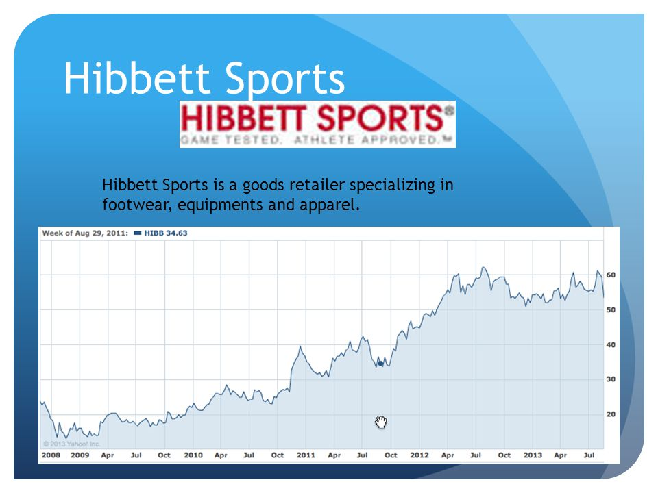 Hibbett Sports Hibbett Sports is a goods retailer specializing in footwear, equipments and apparel.