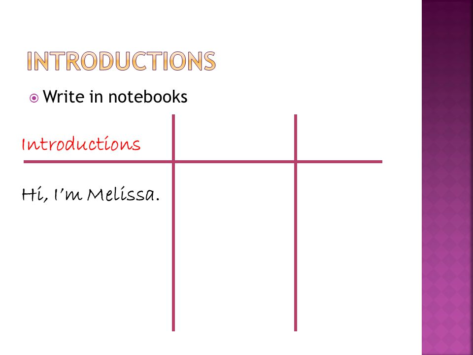  Write in notebooks Introductions Hi, I'm Melissa.