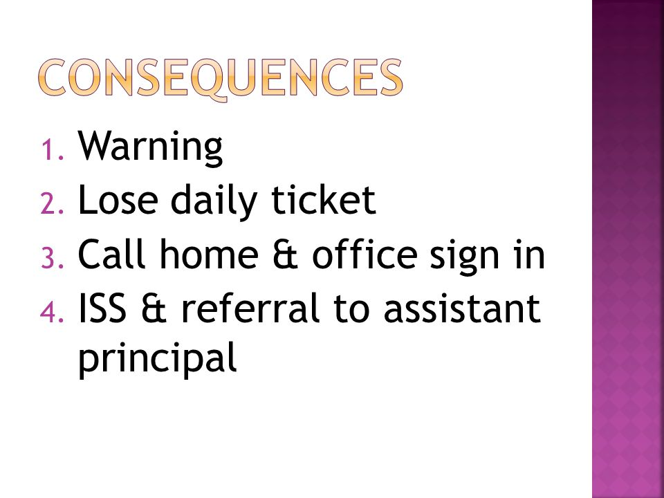 1. Warning 2. Lose daily ticket 3. Call home & office sign in 4. ISS & referral to assistant principal