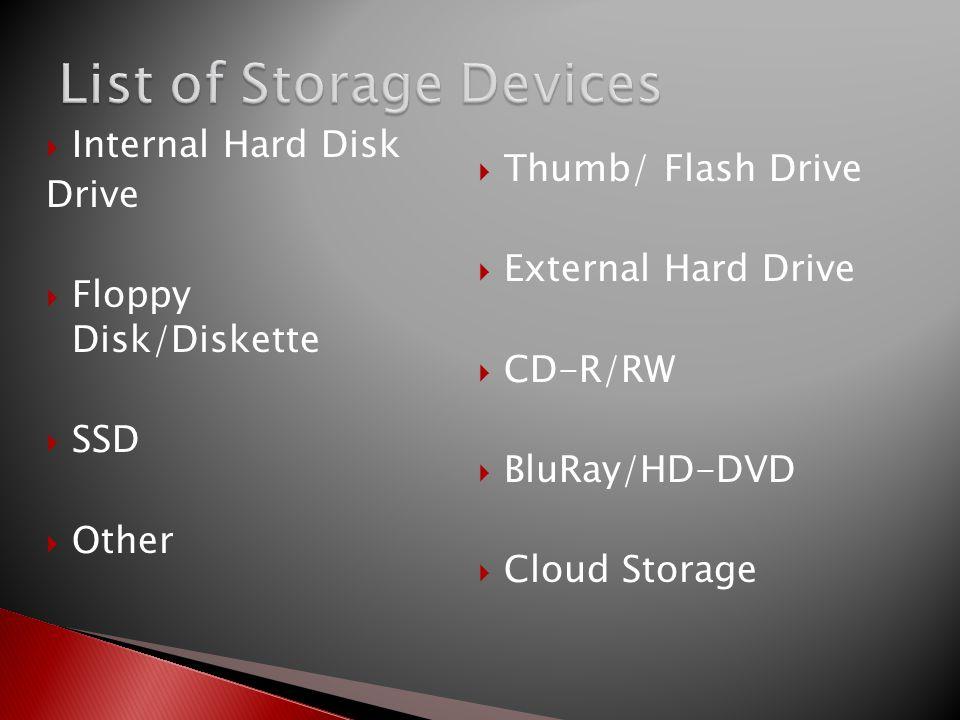  Thumb/ Flash Drive  External Hard Drive  CD-R/RW  BluRay/HD-DVD  Cloud Storage  Internal Hard Disk Drive  Floppy Disk/Diskette  SSD  Other