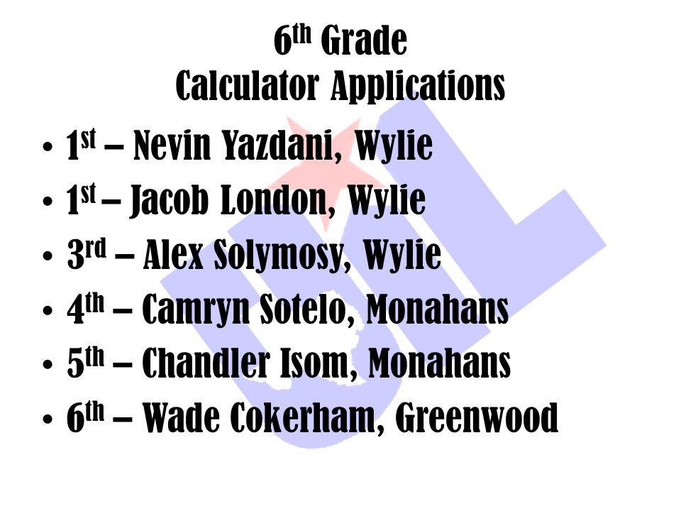 6 th Grade Calculator Applications 1 st – Nevin Yazdani, Wylie 1 st – Jacob London, Wylie 3 rd – Alex Solymosy, Wylie 4 th – Camryn Sotelo, Monahans 5