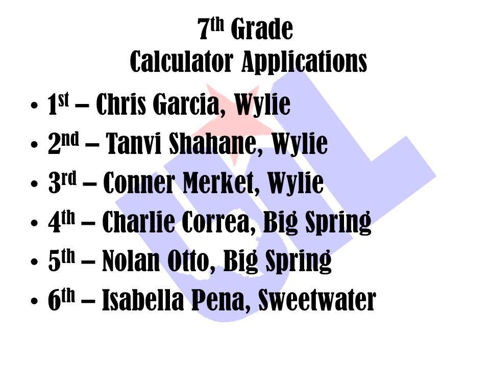 7 th Grade Calculator Applications 1 st – Chris Garcia, Wylie 2 nd – Tanvi Shahane, Wylie 3 rd – Conner Merket, Wylie 4 th – Charlie Correa, Big Sprin