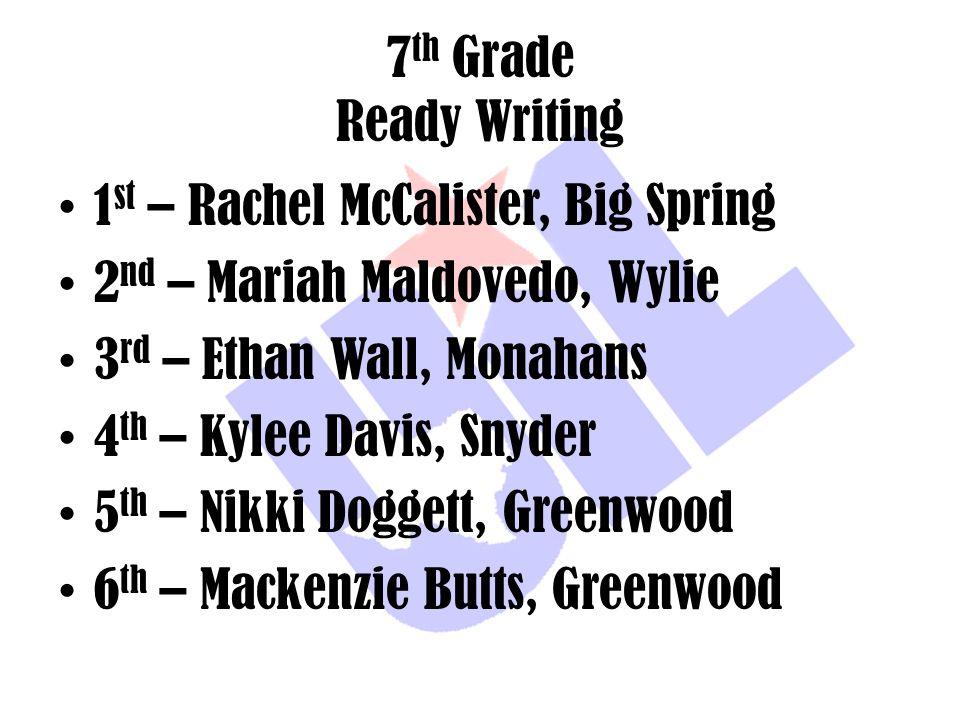 7 th Grade Ready Writing 1 st – Rachel McCalister, Big Spring 2 nd – Mariah Maldovedo, Wylie 3 rd – Ethan Wall, Monahans 4 th – Kylee Davis, Snyder 5